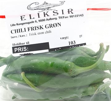 Fresh and Hot Green Chili - Call or send an email before order. Ring før bestilling. 250 g.