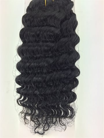 "New deep wave colour 1, jet black Human Hair, 10"" (12,5  cm long)"